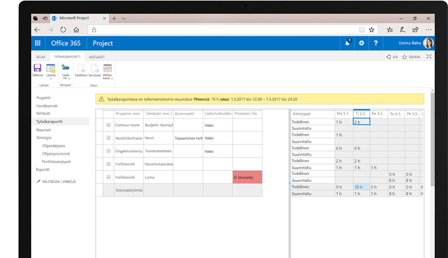 Laite, jossa näkyy Resurssipyyntö-laskentataulukkoraportti, ja puhelimen näyttö, jossa näkyy kalenterinäkymiä muiden tehtävien aikataulujen valvontaa varten.