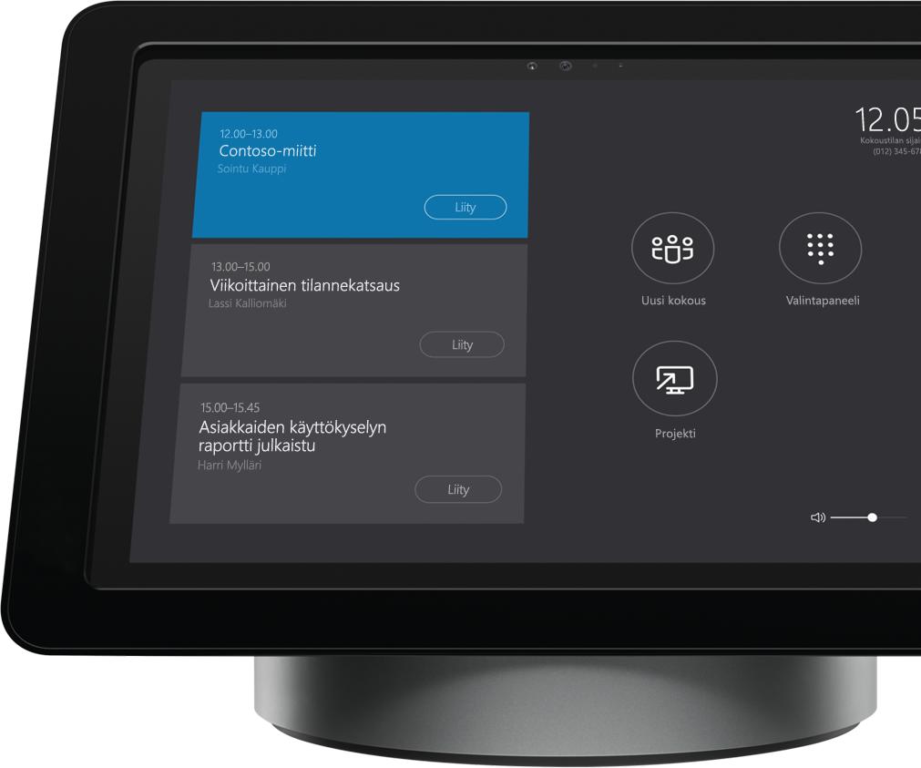 Skype for Businessin Polycom Roundtable 100:n näyttö kokoushuoneen telakassa