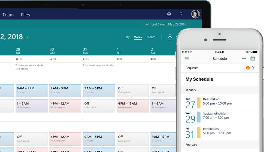 pöytäkone, jossa näkyy aikataulu, ja matkapuhelin, jossa näkyy tehtävänäytössä määritettyjä ja suoritettuja tehtäviä