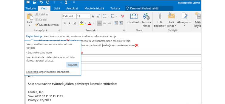 Lähikuva sähköpostiviestistä, jonka sisältämän käytäntövihjeen avulla voidaan estää arkaluontoisten tietojen lähettäminen.