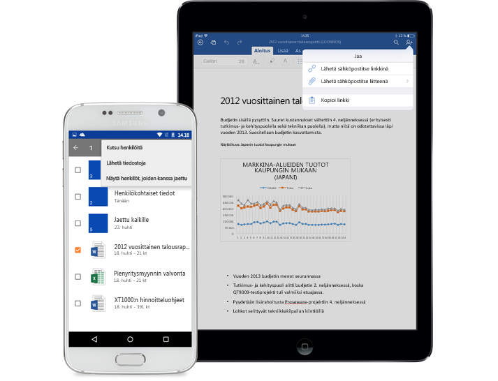 Tabletti ja älypuhelin, joissa on näkyvissä OneDrive for Businessin Jaa-valikko.