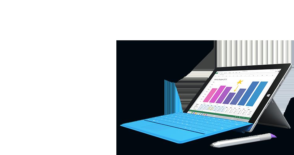 Surface-tabletti, jonka näytössä näkyy täysin uusi Office 2016