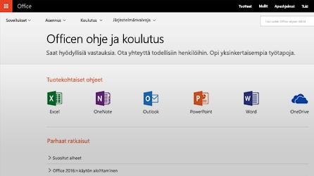 Näyttökuva Officen ohjeesta ja koulutuksesta Office 365:ssä