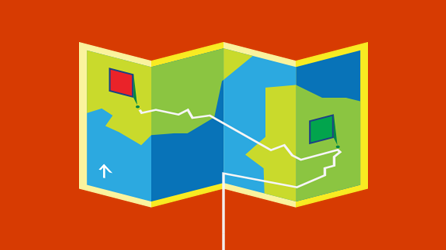 Värikäs kartta, jossa näytetään seurattava reitti
