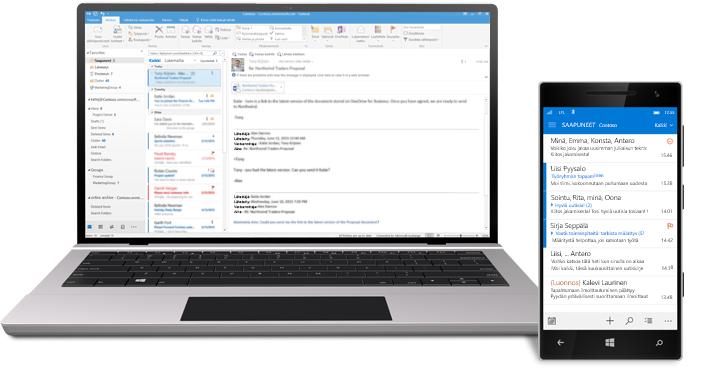 Tabletti ja älypuhelin, joissa näkyy Office 365:n sähköpostin Saapuneet-kansio.