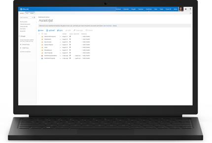 Kannettava tietokone, jonka näytössä näkyy OneDrive for Businessin tiedostoluettelo