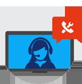 Tietokoneen näyttö, jossa näkyy kuulokkeita käyttävä henkilökuvake ja puhekupla, jossa on työkalukuvake.