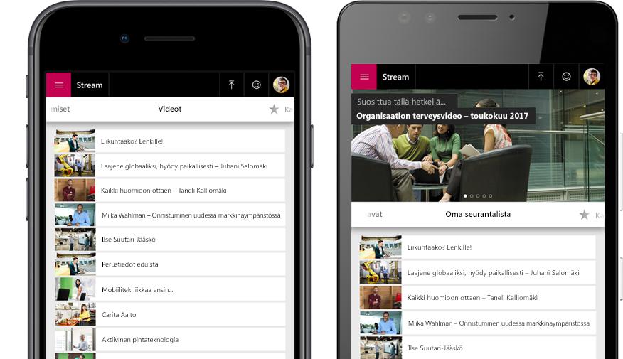 Kaksi älypuhelinta, joista toisessa näkyy Stream-videoiden luettelo ja toisessa Streamin Oma katselulista -videovalikko