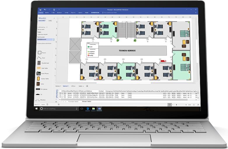 Kannettava tietokone, jossa näkyy uuden tuotejulkaisun Visio-vuokaavio