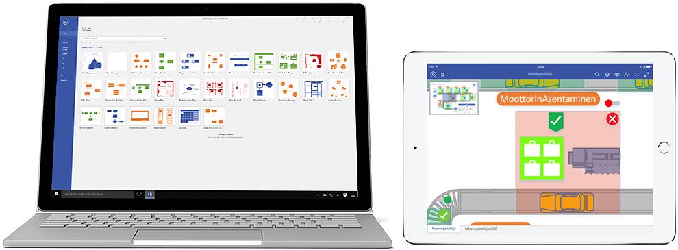 Visio Online -palvelupaketin 2 kaaviot kannettavassa tietokoneessa ja iPadissa.