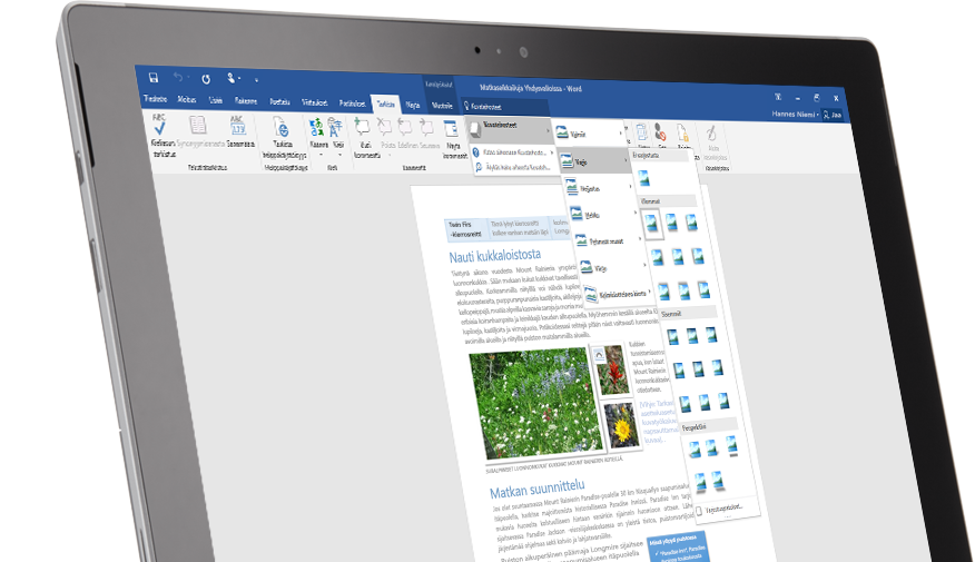 Surface-tabletti, jossa näkyy Kerro-toiminto Word-asiakirjassa.