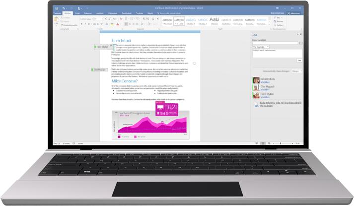 Kuva kannettavasta tietokoneesta, jossa näkyy Word-tiedosto ja meneillään oleva yhteismuokkaus.
