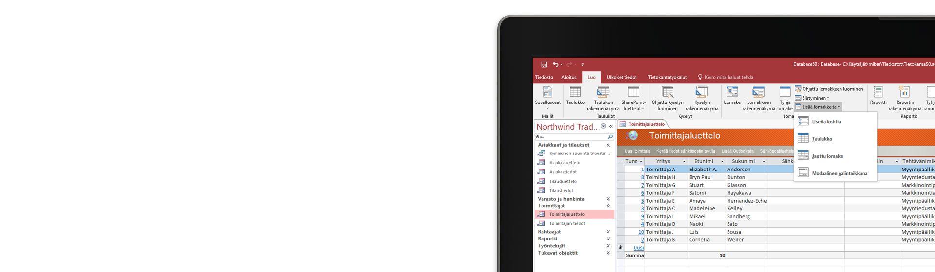 Kuva tietokoneen näytön kulmasta: näytöllä näkyy toimittajaluettelo Microsoft Access -tietokannassa.