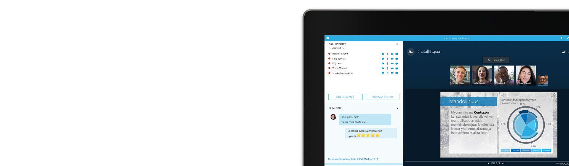 Kannettavan tietokoneen näytön kulma, jossa näkyy meneillään oleva Skype for Business -kokous ja kuva osanottajaluettelosta