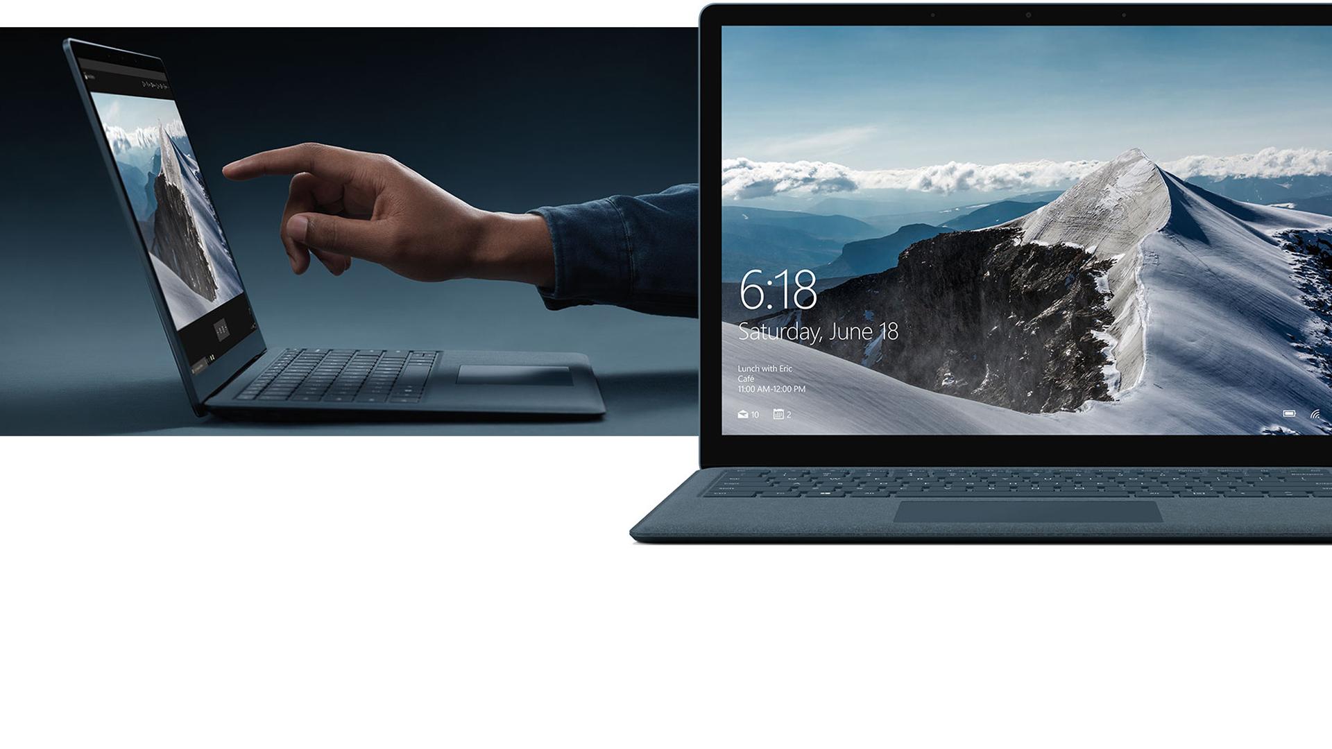 Nainen työskentelemässä Surface Laptop -tietokoneen kosketusnäytön kanssa.