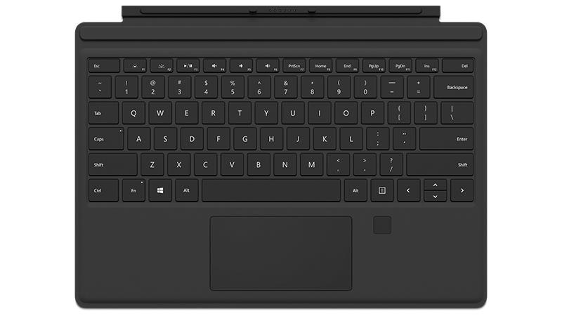 Sormenjälkilukijalla varustettu musta Surface Pro 4 Type Cover edestä