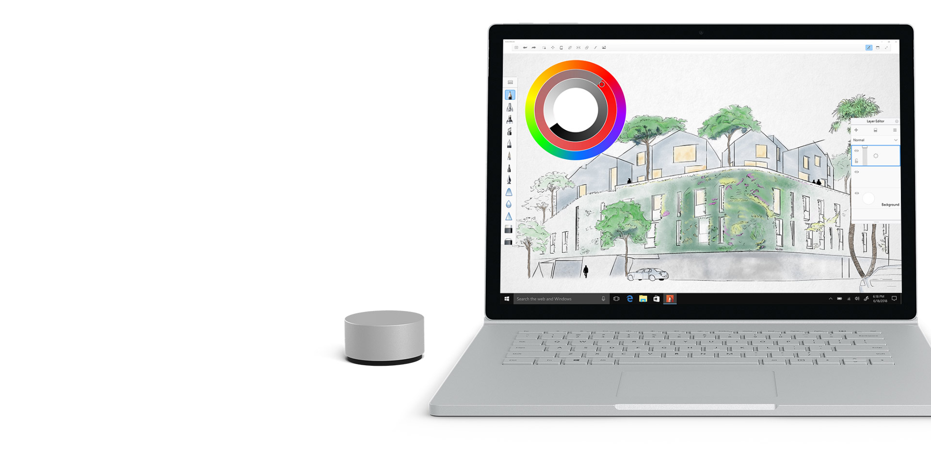 Autodesk SketchBook Surface Book 2 -näytössä