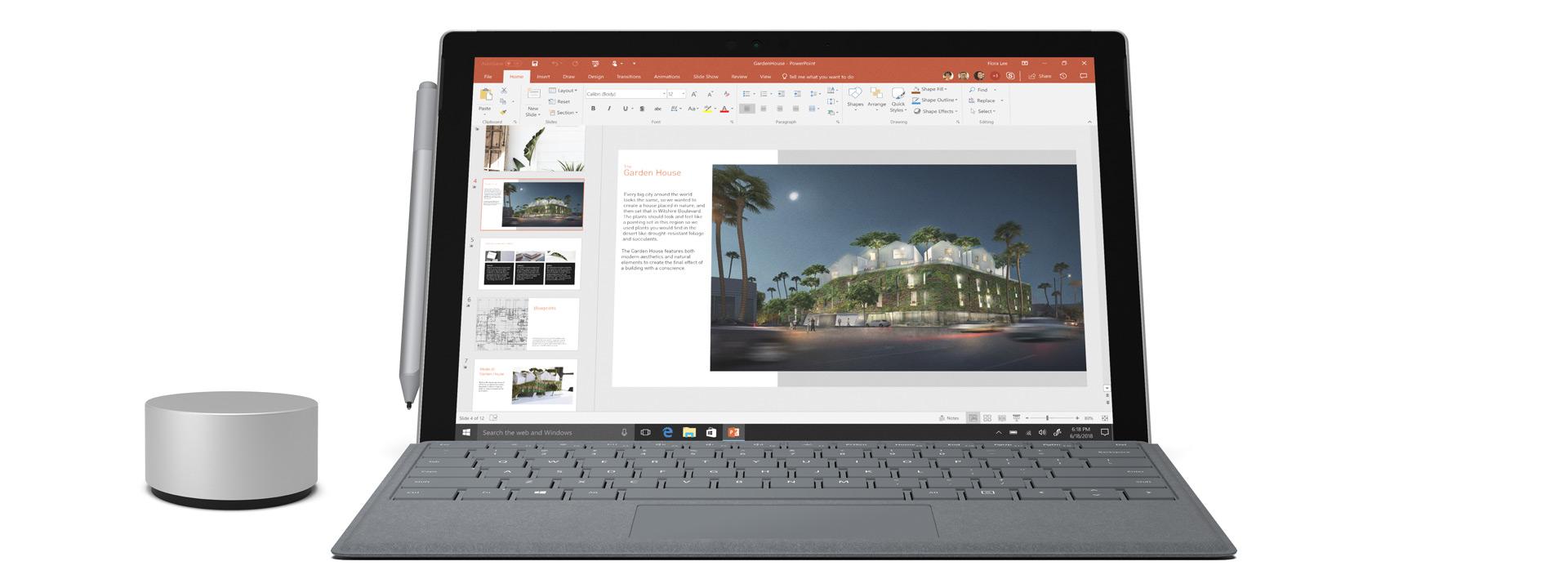 Surface Pro, jossa on Surface Pro Signature Type Cover -suoja, Surface-kynä ja Surface Dial