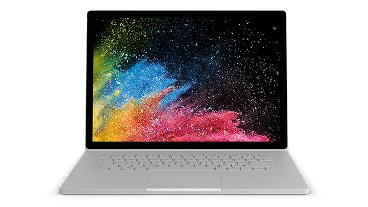 Kuva kannettavasta Surface Book 2-tietokoneesta.