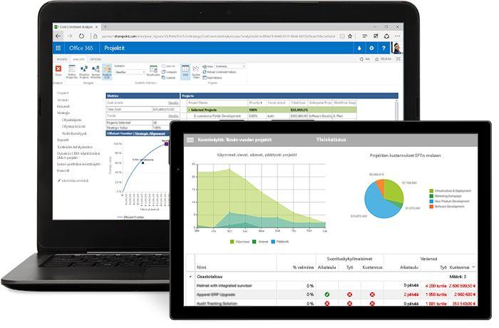 Kannettava tietokone ja tabletti, joissa näytetään Microsoft Projectin projekti-ikkuna.