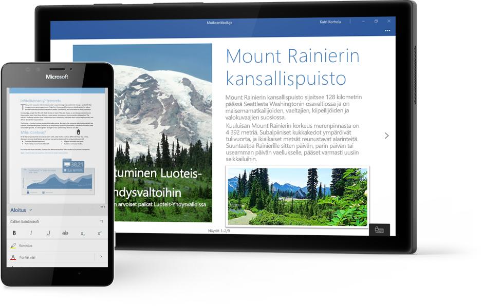Windows-tabletti, jossa näkyy Mount Rainier National Park -puistoa käsittelevä Word-asiakirja Wordissa, ja puhelin, jossa näkyy asiakirja Word-mobiilisovelluksessa