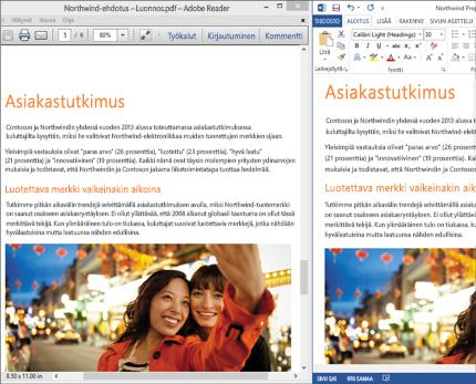 Kannettava tietokone, jossa näkyy kaksi reaaliaikaista asettelua vierekkäin yhdessä Word-asiakirjassa.