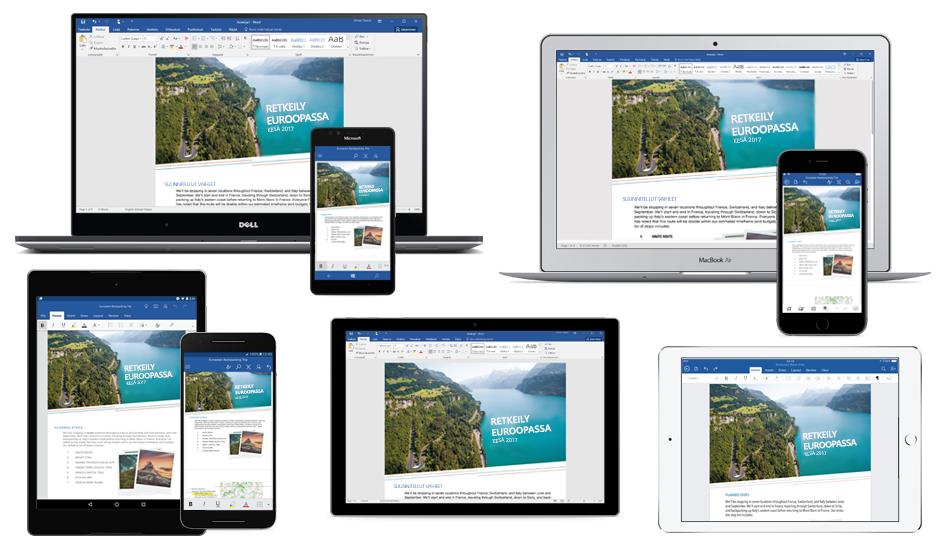 Word-asiakirja Euroopan-reppureissusta usean kannettavan, tabletin ja puhelimen näytössä, lue lisää maksuttomista Office-mobiilisovelluksista
