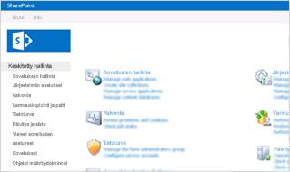 Näyttökuva SharePoint Onlinen hallintakonsolista.