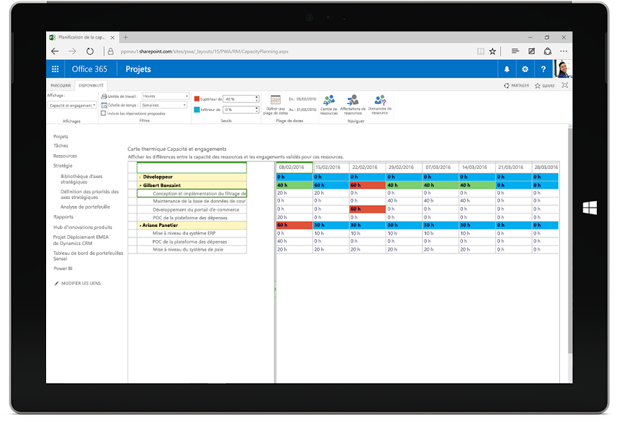 Écran de tablette affichant une carte thermique de capacité et d'engagements Microsoft Project dans Office 365.