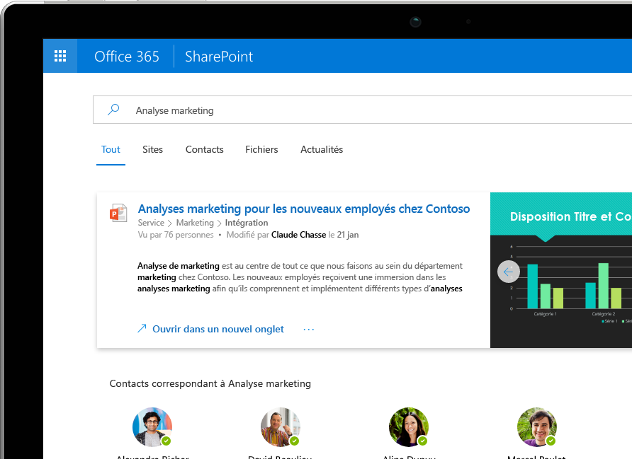 La fonctionnalité Recherche et découverte intelligentes de SharePoint affiche des résultats personnalisés provenant d'Office 365 sur un appareil Surface Pro