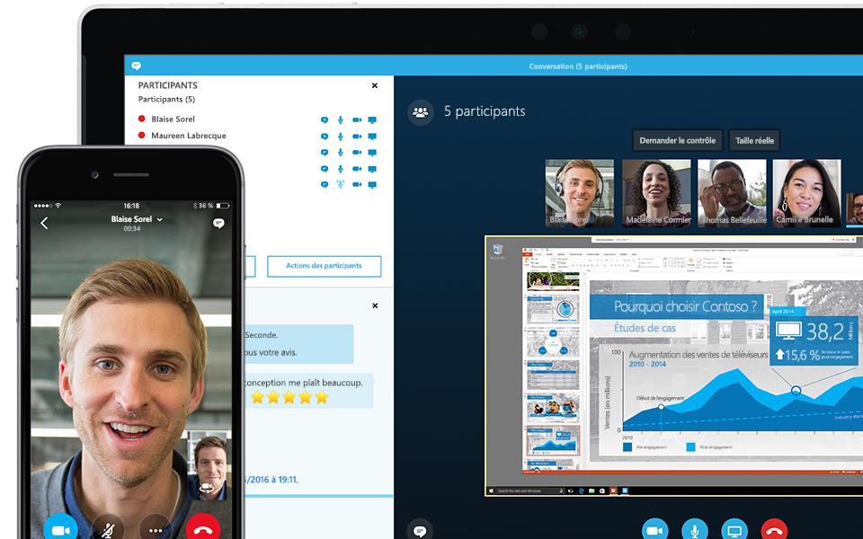 Coin d'écran d'ordinateur portable affichant une réunion Skype Entreprise en cours avec une liste des participants