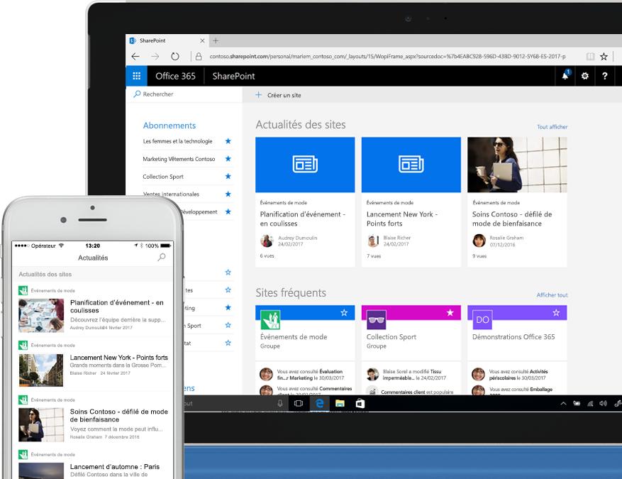 Smartphone et ordinateur portable affichant des actualités SharePoint issues de sites intranet