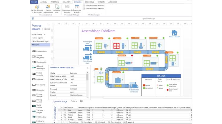 Gros plan d'un diagramme Visio lié à des données avec une feuille de calcul de données et des données de forme.