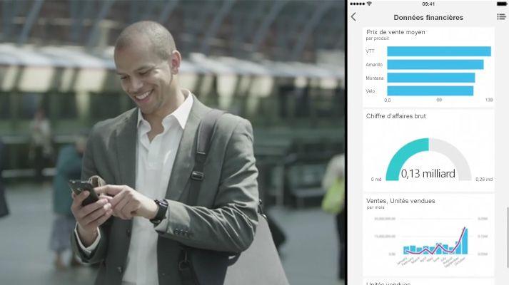 Homme marchant et regardant un téléphone, avec écran fractionné affichant un tableau de bord de données.