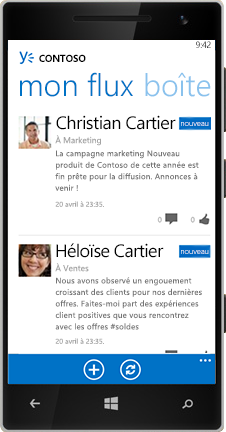 Windows Phone présentant le flux dans Yammer