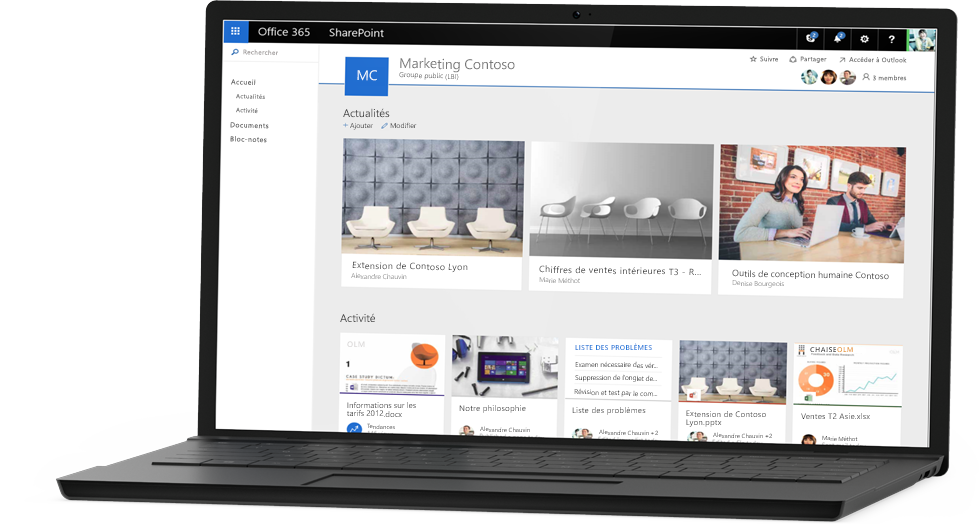 Ordinateur portable affichant l'exemple de site Contoso Marketing dans SharePoint Online