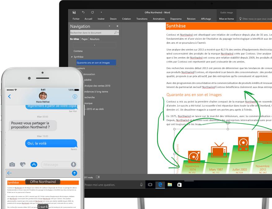 Fichiers affichez dans OneDrive sur un smartphone et une Tablette PC