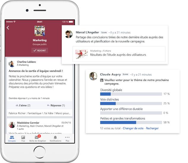 Téléphone mobile affichant des conversations, des sondages et des partages de fichiers dans les groupes Yammer