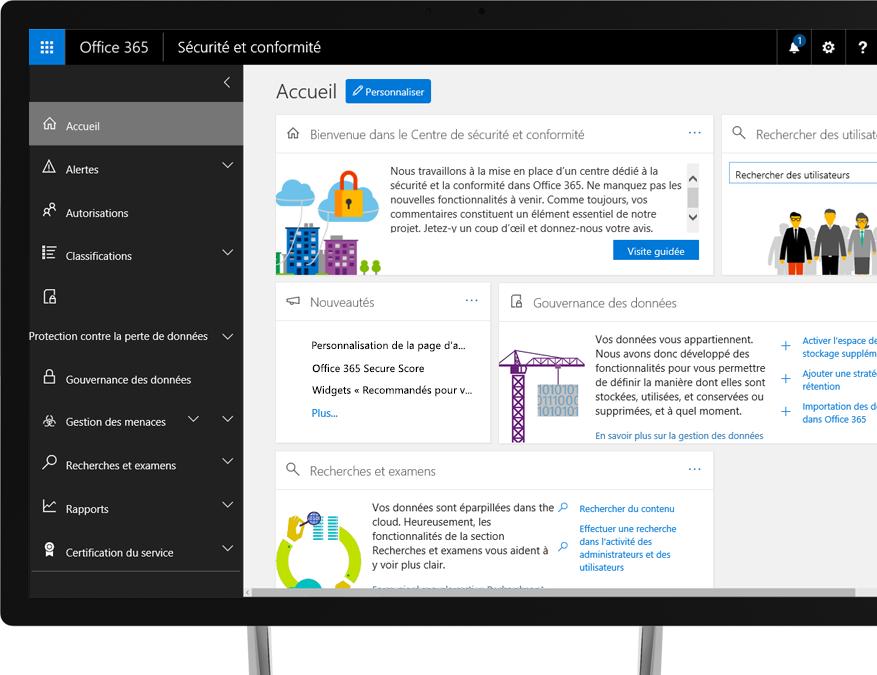 Centre de sécurité et conformité Office 365 sur un moniteur de bureau Windows