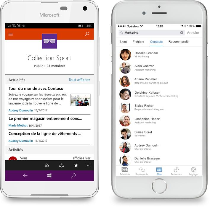 Deux smartphones sur lesquels est exécutée l'application mobile SharePoint