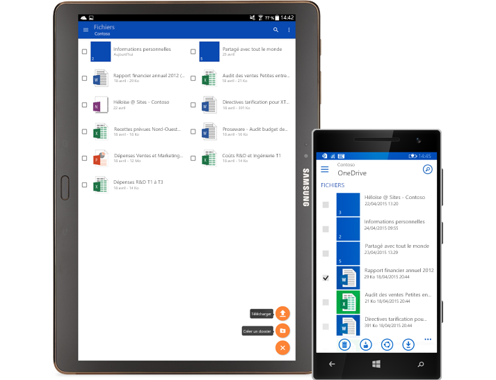 Liste de documents partagés sur une tablette et un smartphone.