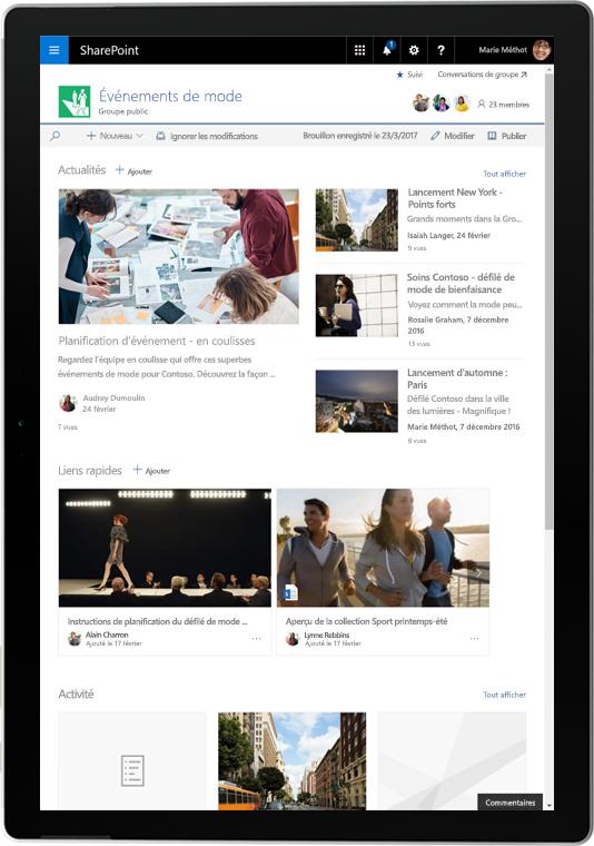 Tablette montrant des actualités et activités SharePoint