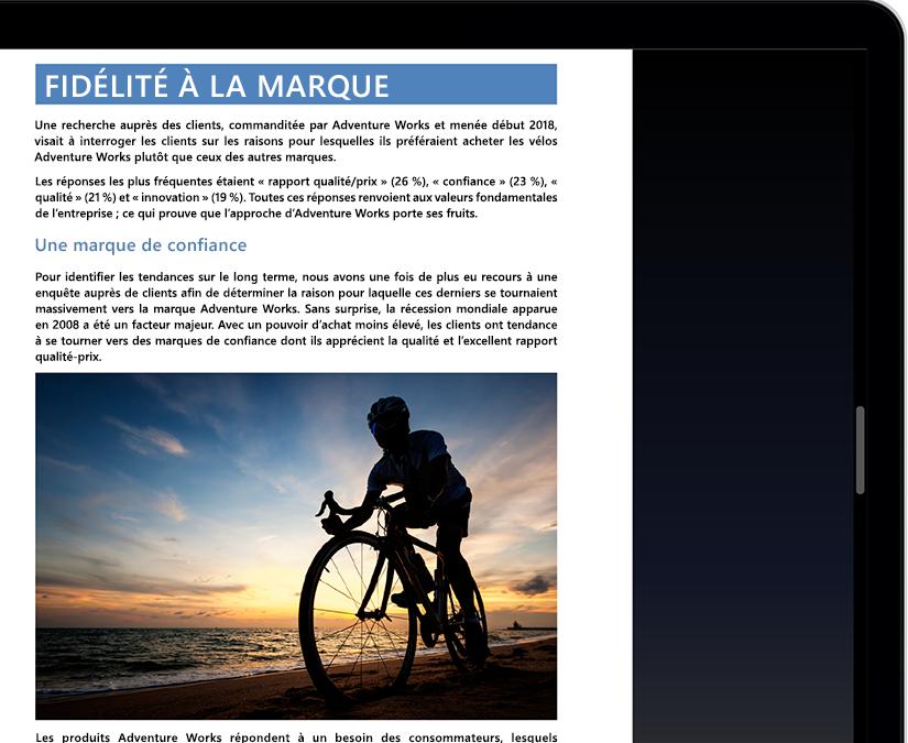 Écran de tablette ou d'ordinateur portable affichant le mode Focus dans Microsoft Word