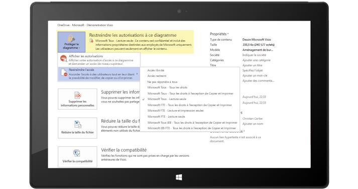 Tablette affichant un écran Visio avec des autorisations restreintes appliquées pour un diagramme Visio.