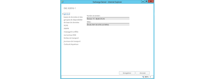 Fenêtre des paramètres généraux d'Exchange Server dans Internet Explorer