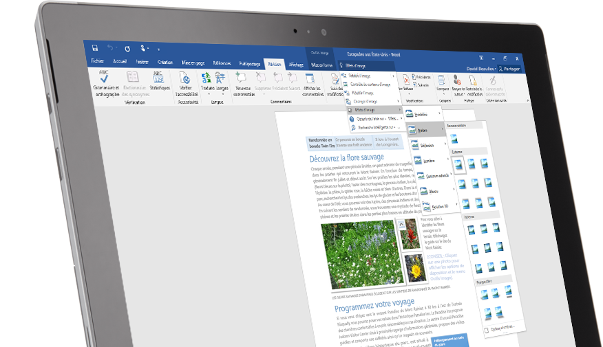 Tablette Surface affichant la fonctionnalité Rechercher dans un document Word