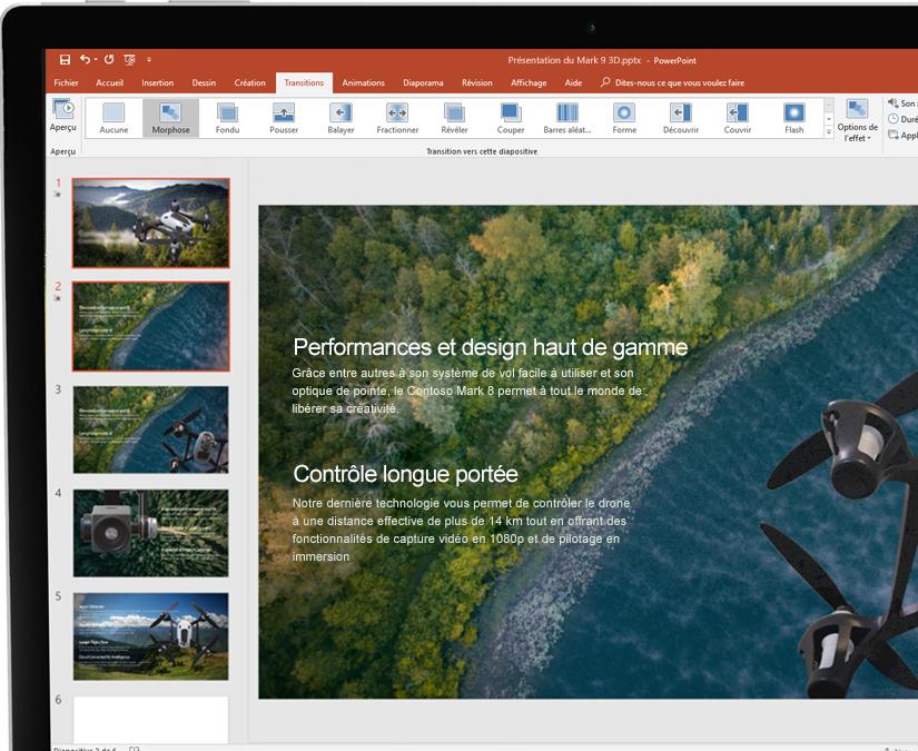 Stylet et tablette affichant une présentation dans Microsoft PowerPoint