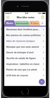 OneNote pour iPhone