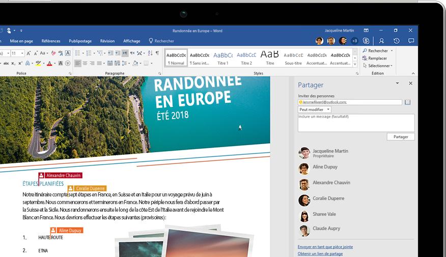 Fonctionnalité de partage Word affichée sur un ordinateur portable