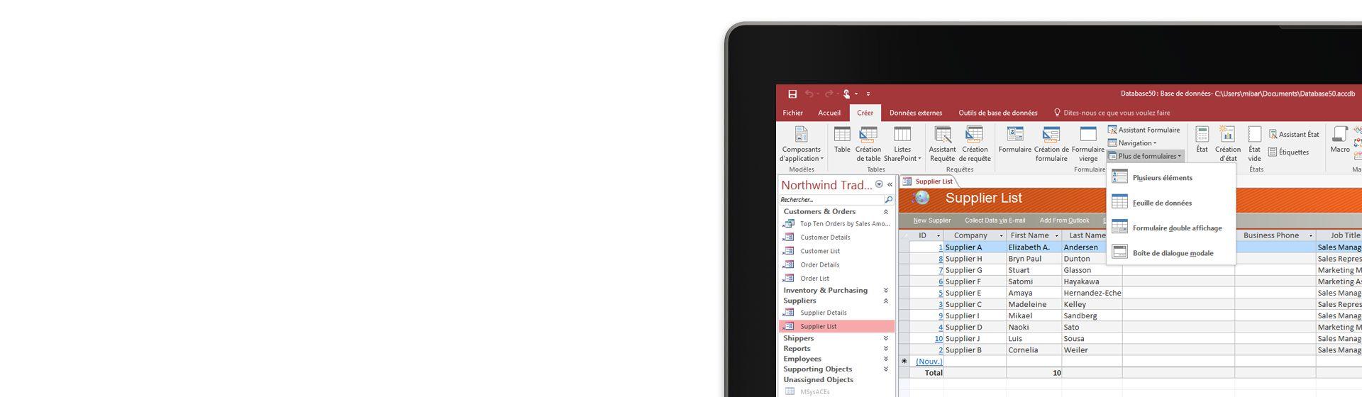 Angle d'un écran d'ordinateur affichant une liste de fournisseurs dans une base de données Microsoft Access.